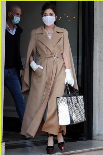 Lady Gaga wears Max Mara coat in Rome