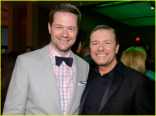 Matt Vogel with Ricky Gervais at the premiere of Muppets Most Wanted