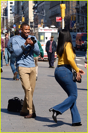 Michael B Jordan and Chante Adams on Journal For Jordan set