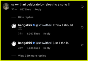 Rihanna's comments on Instagram