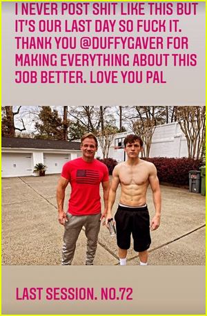 Tom Holland and his trainer pose together outside