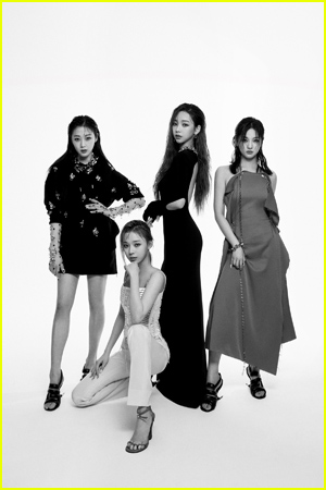 K-pop girl group Aespa pose in black and white