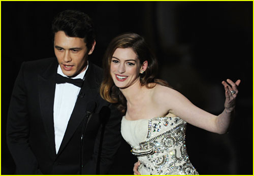 James Franco and Anne Hathaway onstage during the 83rd Annual Academy Awards