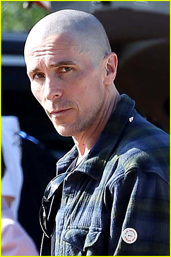 Christian Bale with bald head