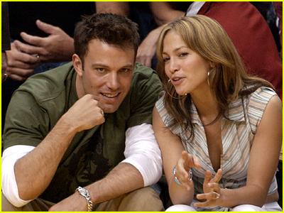 Ben Affleck and Jennifer Lopez at a basketball game