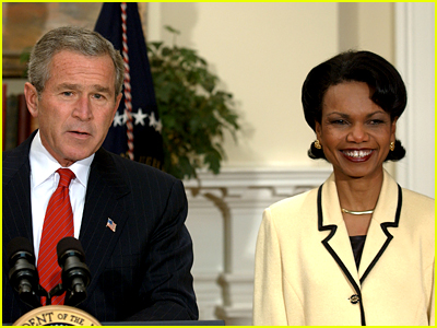 George W Bush and Condoleeza Rice