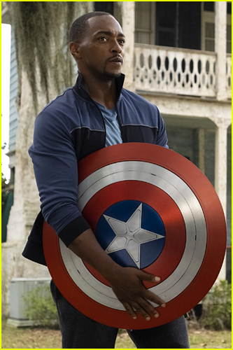 Anthony Mackie as Sam Wilson with Captain America shield