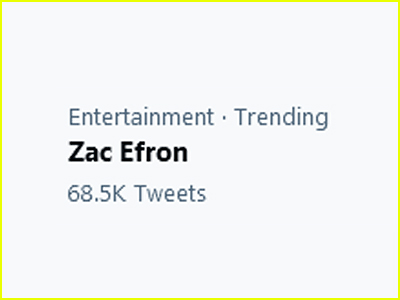 Zac Efron trends on Twitter