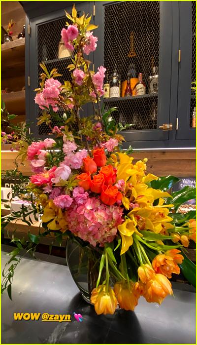Gigi Hadid birthday flowers from Zayn Malik