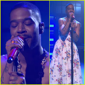 Kid Cudi Seemingly Pays Tribute to Kurt Cobain While Wearing Floral-Print Dress on 'SNL' - Watch