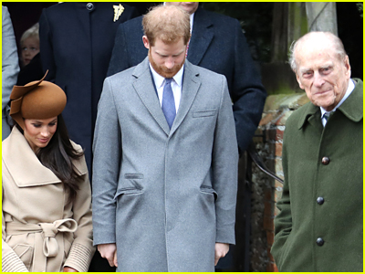 Prince Harry and Meghan Markle with Prince Philip