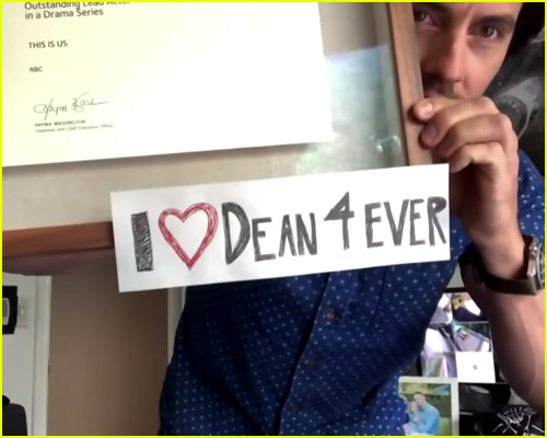 Milo Ventimiglia Holding I love Dean Sign