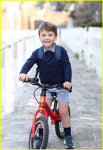 Prince Louis riding bicycle on third birthday