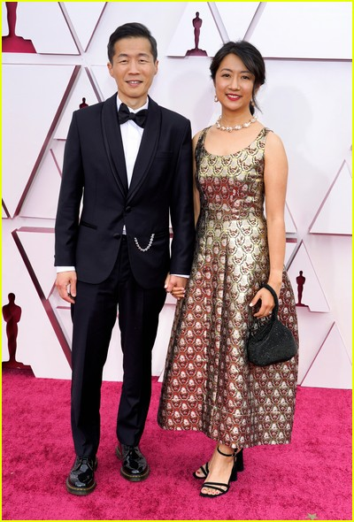 Lee Isaac Chung and wife Valerie at the Oscars