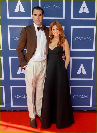 Sacha Baron Cohen and Isla Fisher at the Oscars