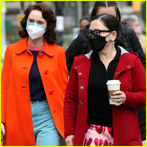 Rachel Brosnahan & Alex Borstein Enjoy Some Downtime on Set of 'The Marvelous Mrs. Maisel'
