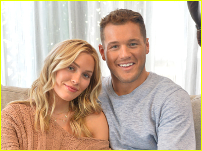 Colton Underwood and Cassie Randolph sitting on a couch
