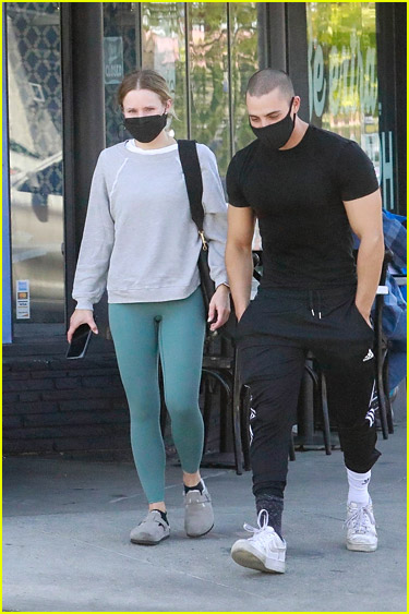 Kristen Bell and Benjamin Levy Aguilar after a workout