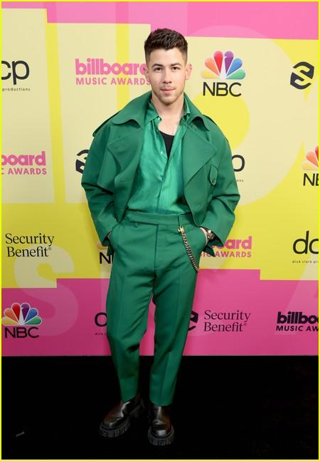 Nick Jonas on the Billboard Music Awards 2021 red carpet