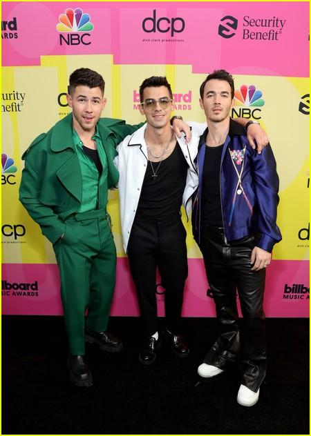 Jonas Brothers on the Billboard Music Awards 2021 red carpet