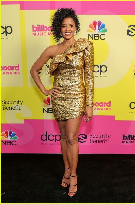Renee Elise Goldsberry on the Billboard Music Awards 2021 red carpet