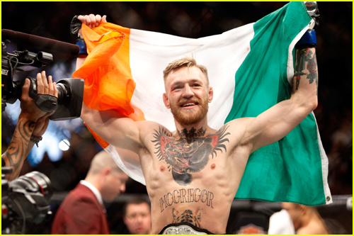 Conor McGregor holding Irish flag