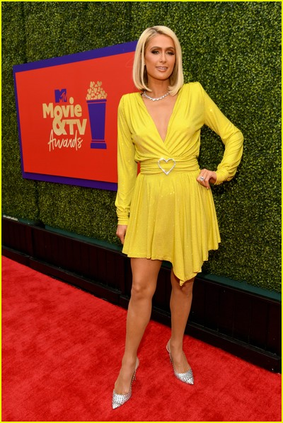 Paris Hilton on red carpet at the MTV Movie and TV Awards Unscripted