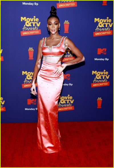 Winnie Harlow on red carpet at the MTV Movie and TV Awards Unscripted