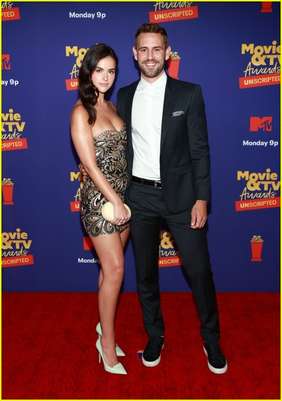 Nick Viall and new girlfriend Natalie Joy on red carpet at the MTV Movie and TV Awards Unscripted
