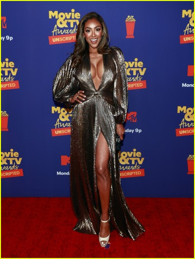 Tayshia Adams on red carpet at the MTV Movie and TV Awards Unscripted