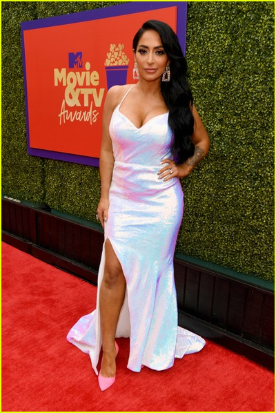 Angelina Pivarnick on red carpet at the MTV Movie and TV Awards Unscripted