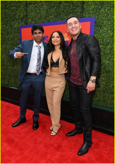 Shubham Goel, Sammie Cimarelli, and Joey Sasso on red carpet at the MTV Movie and TV Awards Unscripted
