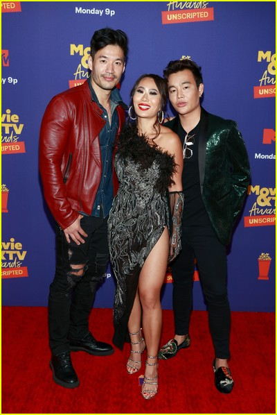 Kevin Kreider, Kelly Mi Li, and Kane Lim on red carpet at the MTV Movie and TV Awards Unscripted