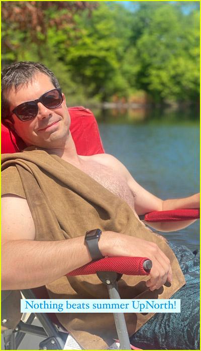 Pete Buttigieg shirtless at the lake