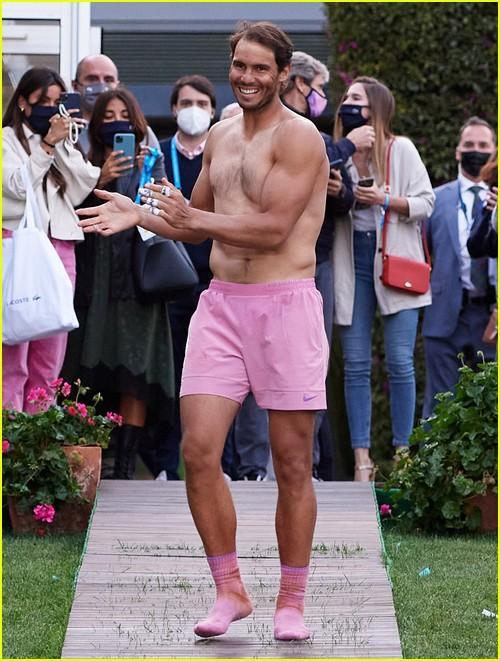 Rafael Nadal goes shirtless after winning tennis tournament