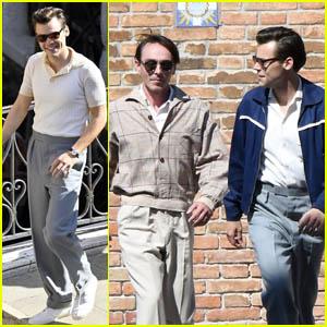 Harry Styles & David Dawson Take a Walk While Filming 'My Policeman' in Venice