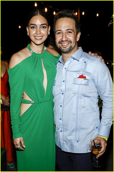 Melissa Barrera with Lin-Manuel Miranda at the