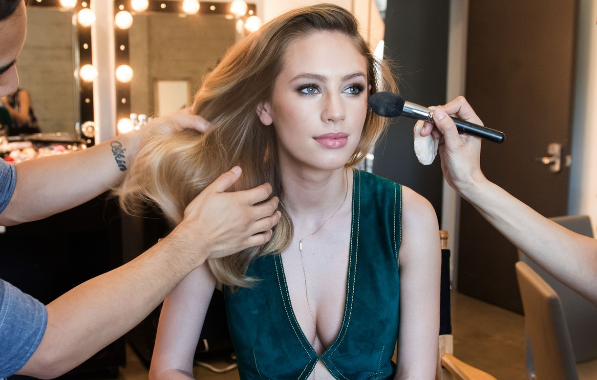 Dylan Penn Behind THe Scenes getting her makeup done