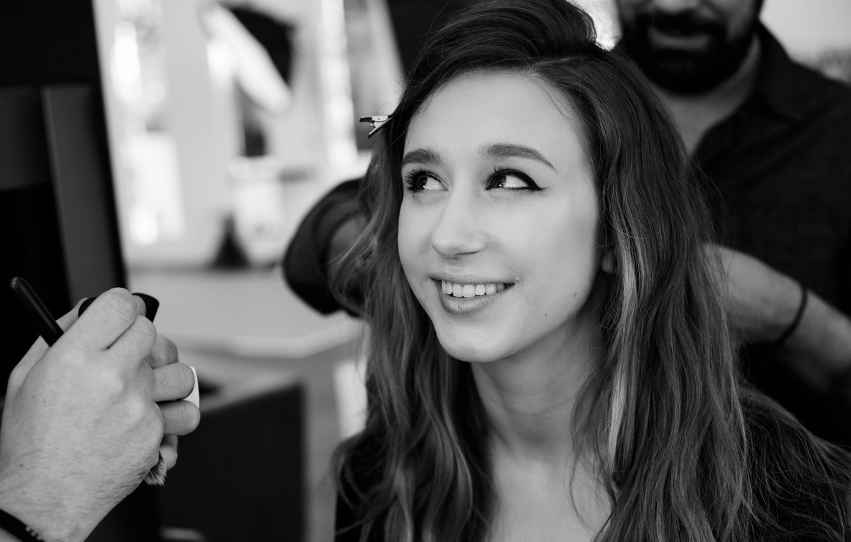 Taissa Farmiga Behind The Scenes smiling in black and white