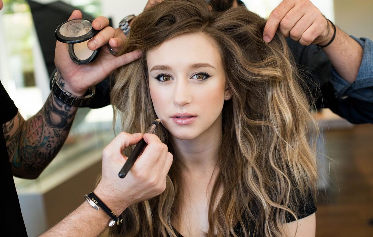 Taissa Farmiga getting her hair done